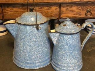 2 Blue   White Enamelware Coffee Pots