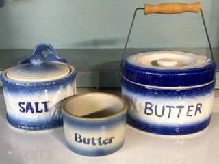 Stoneware Salt and 2 Butter Dishes