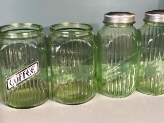4  Green Glass Canisters