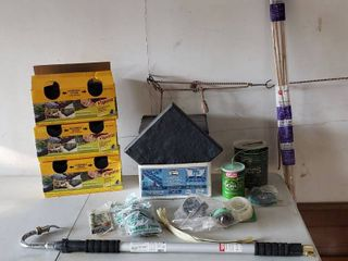 Orbit Telescoping Wand w Gutter Cleaner Nozzle  Fabric Pins  Trimmer line  Bamboo Stakes w  Tie Strings  Stomp Stone Tiles and Vigorp Pound In landscape Edging  3 boxes   1 open