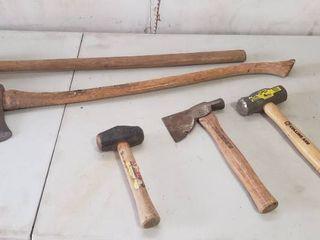 10 lb  Sledge  Single long Handle Axe  4 lb  Sledge Hammer  Hatchet  and 3 lb  Sledge Hammer