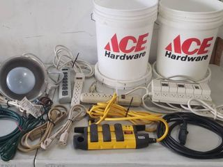 Extension Cords  Multi  port Extension Cords  Shop light and 2 Ace Buckets w lids