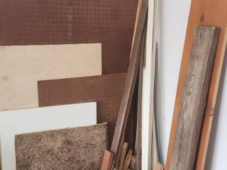 Various Wood Boards  Marking Flags and Recycle Tub