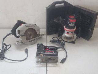 Craftsman 1 HP Router w Case  Craftsman Scroller Saw  and Black   Decker Circular Saw   all work