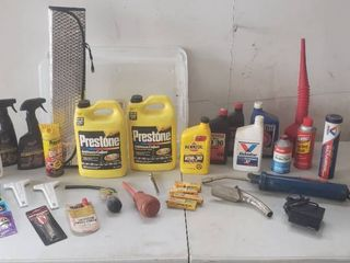 Car Fluids  Testers  lube  Applicators  Oil  Funnel  and Interior Car Cleaners   Small Tote Included