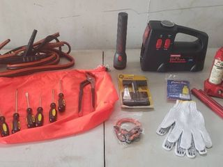 Emergency Car Kit   includes Air Compressor  Jumper Cables  Tools  1 1 2 Ton Jack and Other Necessary Items
