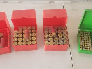 12 Gauge Shotgun Shells and 38 Special Cartridges and Casings   4 Plastic Holders