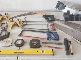 Saws  C clamps  Clamps  level  Measuring Tapes  Peep Sight level Miter Box and Rasp