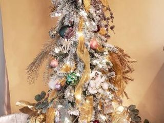 7 Ft  Flocked Pre lit Decorated Christmas Tree w  Tree Skirt and Faux Presents   works   Winning Bidder is Responsible for Disassembling Tree   Box for Tree included not pictured