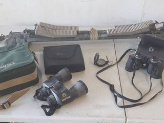Pentax XCF Binoculars w  Carrying Cases  Vintage Kiffe Compass  JC Penney 7 35 Wide Angle Binoculars  and BIC SportRack for Automobile