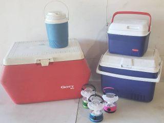 Gott 50 Cooler  Gott Water Jug  Rubbermaid Small   Medium Size Coolers  and 3 Dorcy lanterns
