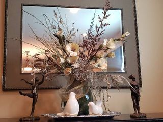 Table Top Arrangement   Faux Flowers in Glass Vase  2 Ceramic Birds  Pewter Rectangular Platter and 2 Resin Statues by Nettle Creek   limited edition reproductions  1 broken   see pix