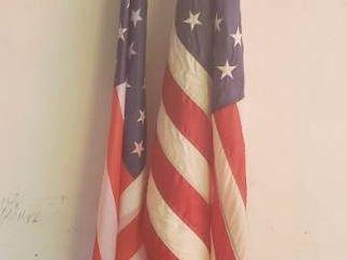 2 US Flags w poles
