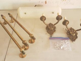 Vintage Home Decor lighting   3 Brass Towel Racks  Vanity light and 2 Brass Wall Sconces