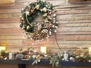Decorated Wreath and Mantle Holiday Decor includes Battery Operated Candles   lighted