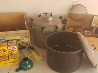 Canning Jars  Vintage National Pressure Cooker  Bkack Enamel Canning Pot and Canning Tools