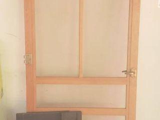 Wood Screen Door  81 x 30 in  wide  and 2 Black Plastic Shutters  lg  14 5 x 29 in  sm  5 5 x 29 in