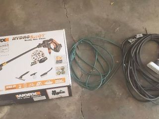 Worx Hydro Shot 20V Max lithium Portable Power Cleaner  needs battery   charger  and 2 Extension Cords