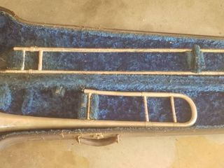 Vintage Silverplated ludwig Standard Trombone with Case   No Mouthpiece