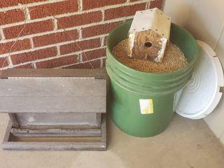 Bird Feeder  Bird House and 5 gal  Bucket of Bird Food