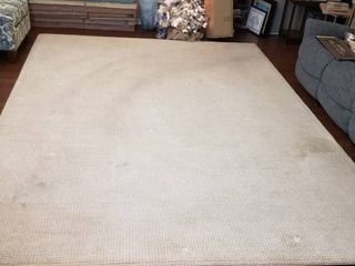 9 ft  x 12 ft  Cream Check Texture Area Rug   Stained