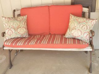 Cast Iron and Wood Park Bench w Cushions and Throw Pillows