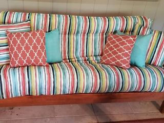 Colorful Striped Futon w Accent Pillows   80 x 36 x 34 in  tall in up position