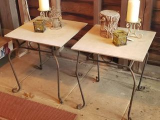 Pair of Metal Patio Accent Tables  19 5 in  tall w 18 x 18 in  tile and Candle Decor