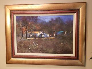 Framed Artwork   Countryside Home   49 x 37 in