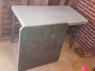 Square Card Table  31 in  and Plastic Top Rectangular Table  48 x 24 in