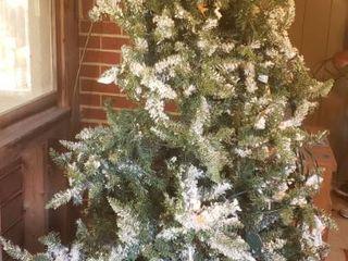 7 Foot Flocked  Pre lit Christmas Tree w  Box for Storage