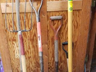 long Handle lawn Tools   Shovels  Pitch Fork  and Hoe