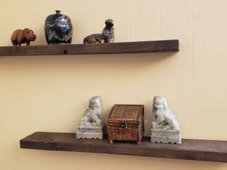 2 Wood Floating Shelves  36 x 5 5 in  with Stone  Wood  Ceramic  and Wicker Decor