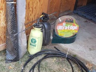 Gardening Items   2 Sprayers  Ultra Edge  Weed Barrier Rolls  and Drip line