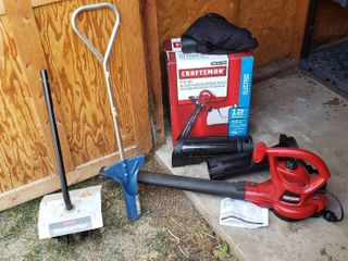 Craftsman Electric Blower Vacuum Mulcher  nearly new  Bulb Planter Tool   and Ryobi Trimmer Plus GC720r Tiller Attachment