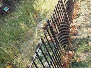 15 Sections of 36 x 30 in  Hollow Metal Black Fencing W  Stakes and One Double Gate Section  45 in wide    winning bidder must disassemble to remove