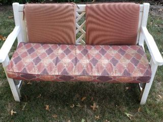 Cast Aluminum   Resin Patio Bench w cushions   52 x 26 x 32 in    could use some cleaning
