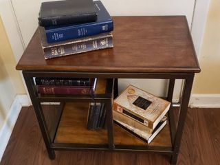 Metal and Wood Accent Table   25 x 15 x 23 in  with Books