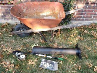 Metal Tub Wheelbarrow  no flat tire  Ryobi Edger Attachment  and parts for Toro Blower Vacuum