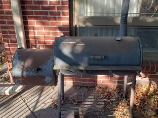 Brinkman Smoker  Heavy Steel    54 x 26 x 54 in    one leg shorter than other   2 boards missing