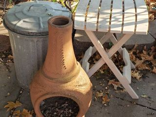 Small Chiminea  24 in  tall  Galvanized Waste Bucket w  lid  and Folding Plastic Patio Side Table  15 x 17 x 19 in