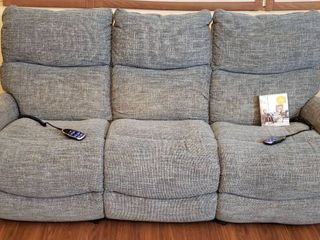 lazboy Slate Blue Tweed Upholstered Electric Double Recliner   86 x 36 x 41 in  w  Total Care Kit