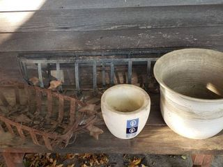 Metal Planters  29 to 36 in  wide and Ceramic Pots