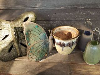 Butterfly Yard Decor  Ceramic Pot  and 3 Tea Candle Holders
