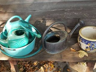 Garden Watering Cans  1 metal   2 Plastic  Plastic Bucket  Hose Mister  and Ceramic Pot with Attachment broke off