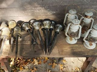 5 Vintage Oil lanterns and Garden Pathway Solar Stick lights