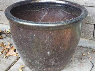 Dark Brown large Ceramic Pot   17 x 14 in  tall