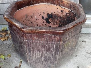 large Brown Octogan Ceramic Pot  heavy  21 x 17 in  tall