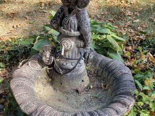 3 piece Concrete Boy Jumping Over Hydrant Water Fountain  Boy s Head broke off   electric pump included  VERY HEAVY CENTER PIECE  BRING HElP   32 in  diameter x 38 in  tall