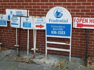 Metal Realtor Signs  10 signs plus 2 extra stakes    42 to 50 in  tall